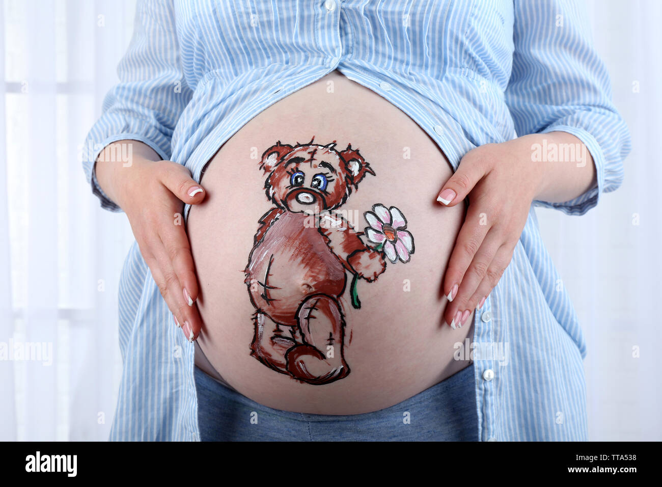 Body Art On Belly Of Pregnant Woman On Light Background Stock Photo Alamy