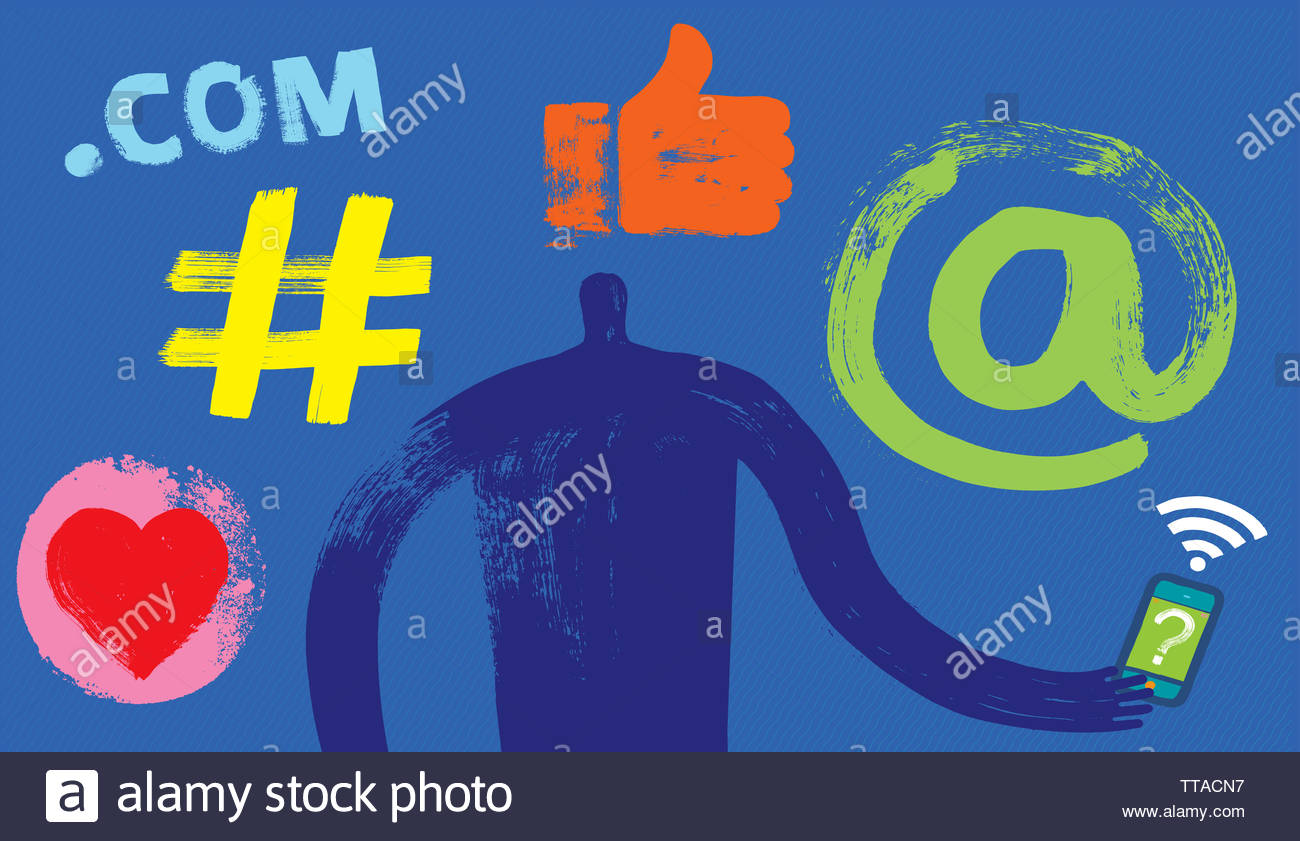One Person with Smartphone, Facebook, Follower, Posting, Social Media Symbols, Snapchat, Millennial, Marketing, Digital, WhatsApp - Stock Image