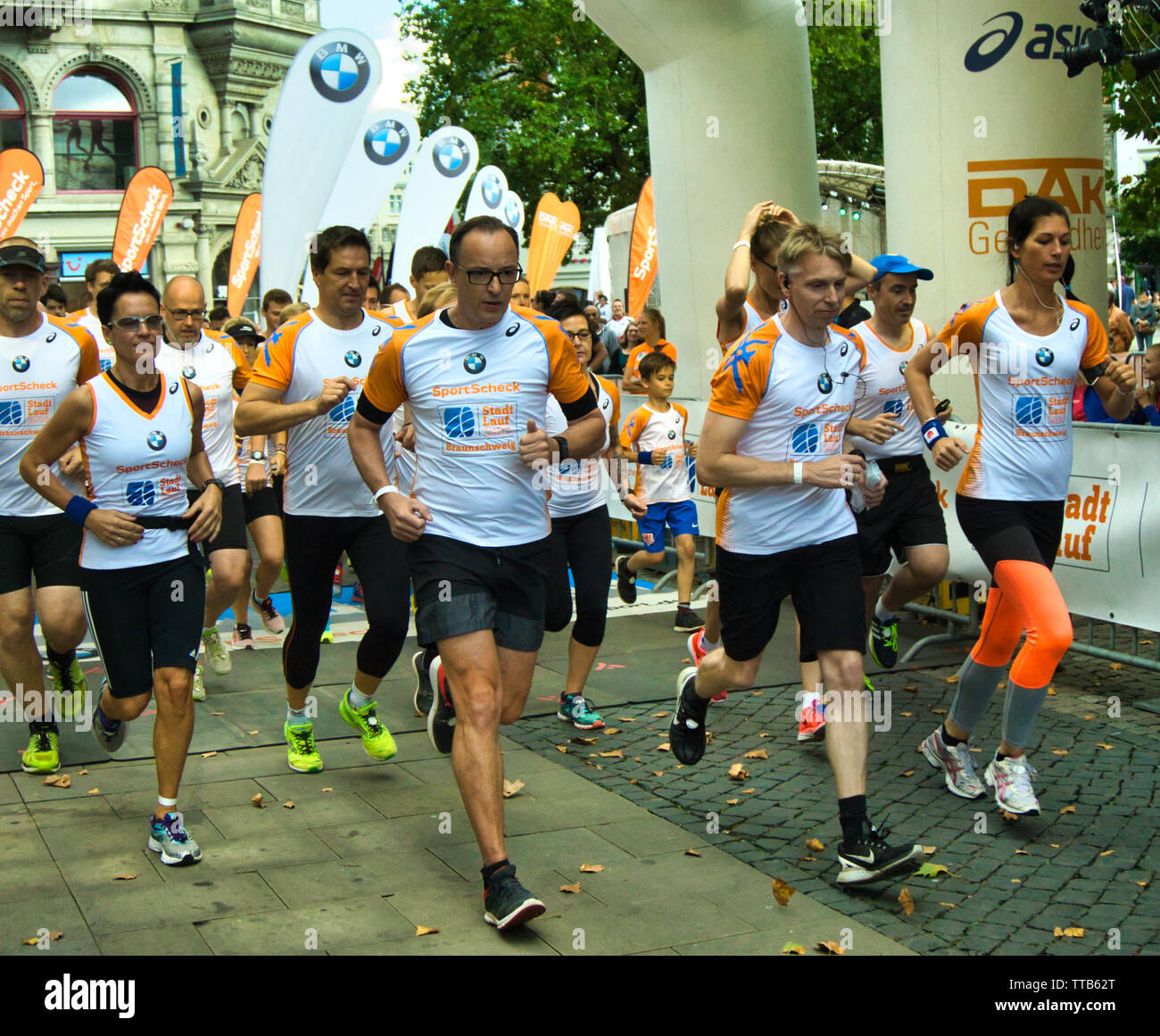 Braunschweig, Germany, September 18., 2016: Runners shortly after the start of the 10 kilometre city run - Stock Image
