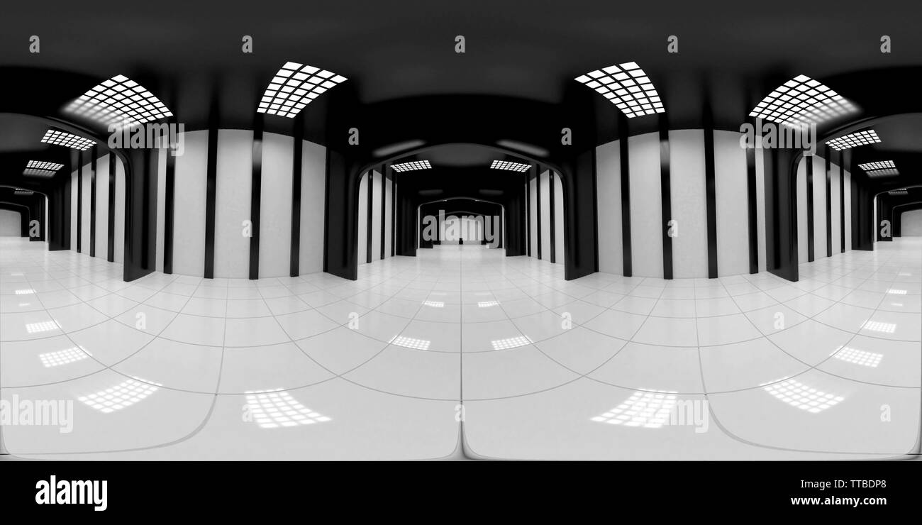 8K HDRI map, spherical environment panorama background, modern high contrast interior light source rendering, huge industrial hall (3d equirectangular - Stock Image