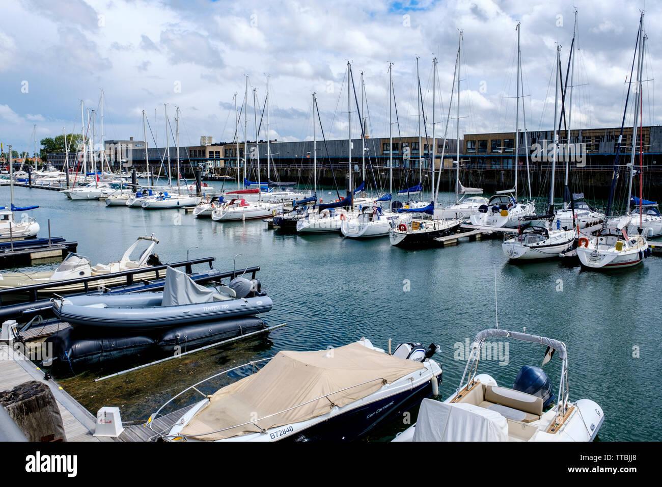 The yachting marina in Zeebrugge, Belgium - Stock Image