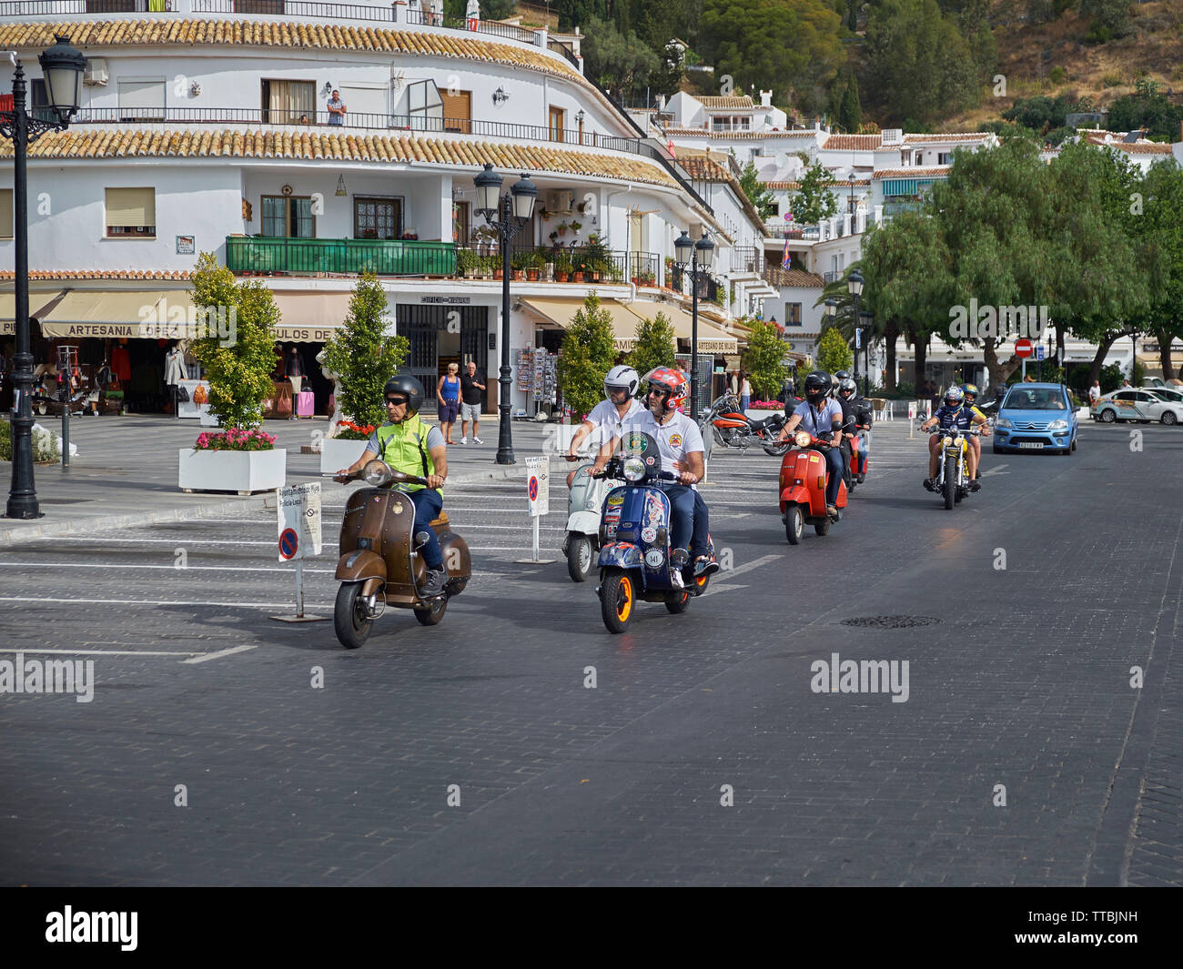XII Concentración motos clásicas Villa de Mijas -classic motorcycle meeting in Mijas, Málaga province, Andalusia, Spain. Stock Photo