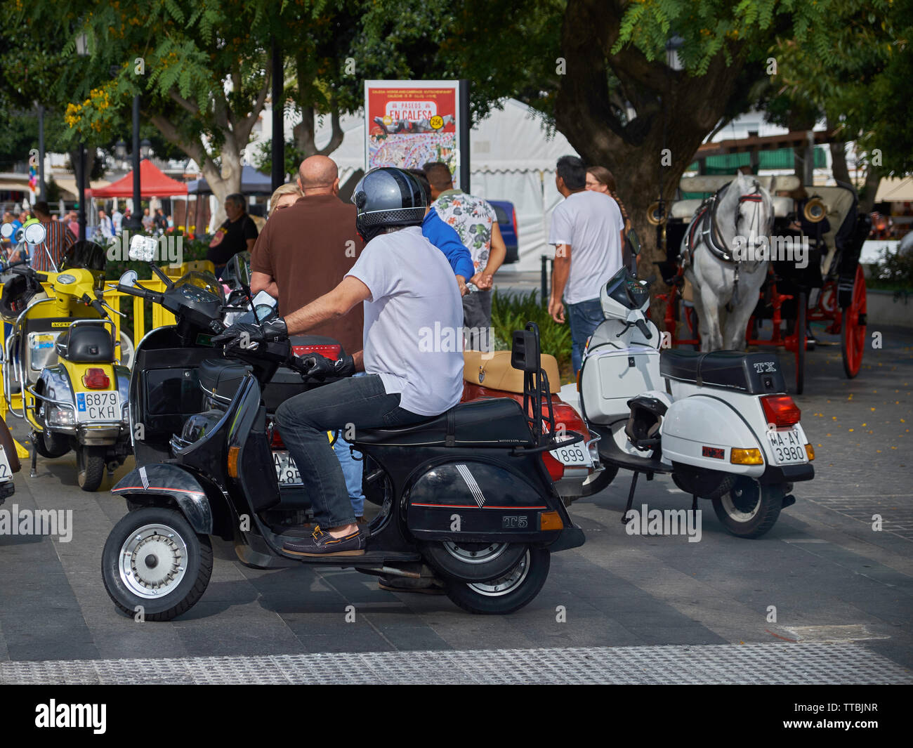 XII Concentración motos clásicas Villa de Mijas -classic motorcycle meeting in Mijas, Málaga province, Andalusia, Spain. Stock Photo