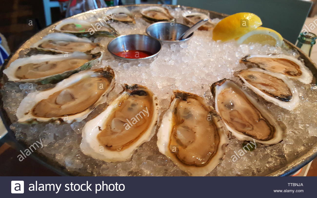 Two dozen of fresh oysters on ice. A nice seafood platter - Stock Image
