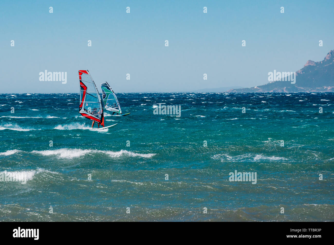 Windsurfing in the Bay of Cannes, France - Stock Image