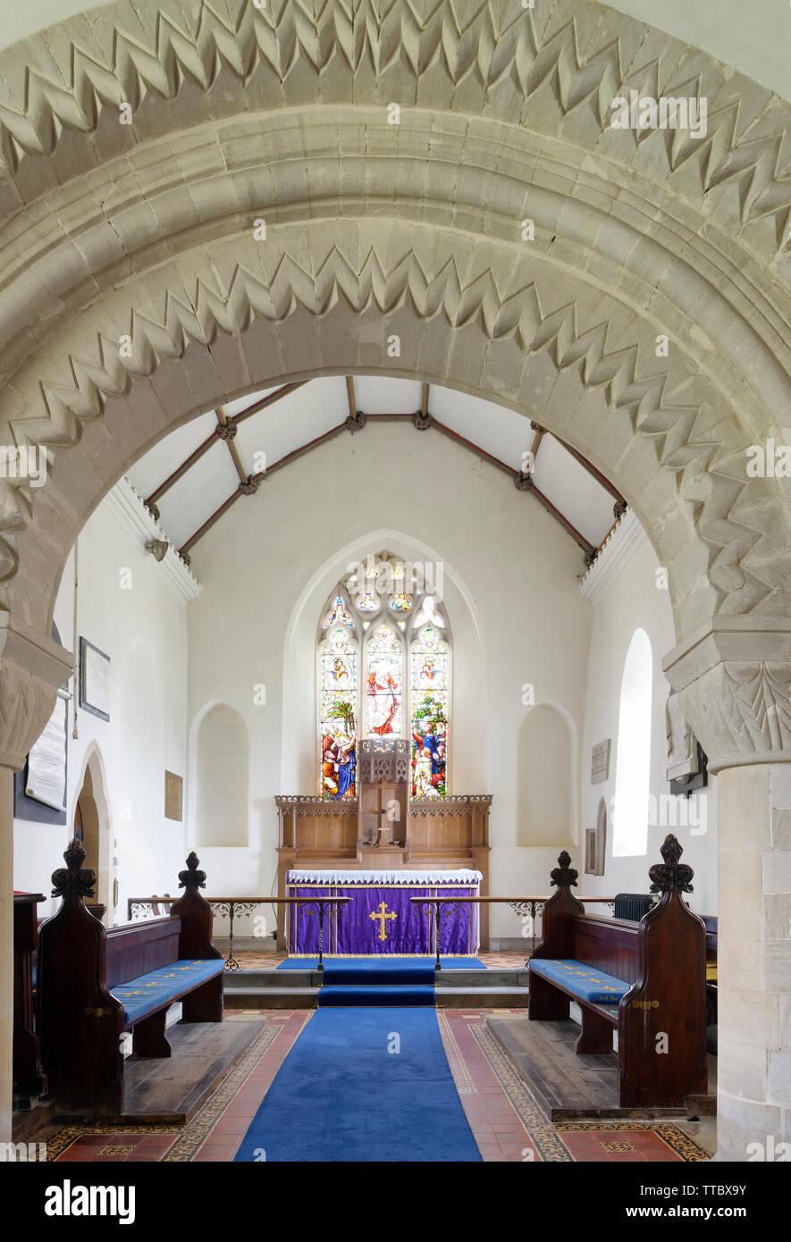 St Mary Magdelene Church, Tormarton, South Gloucestershire, UK  Grade I listed Norman Church - Stock Image