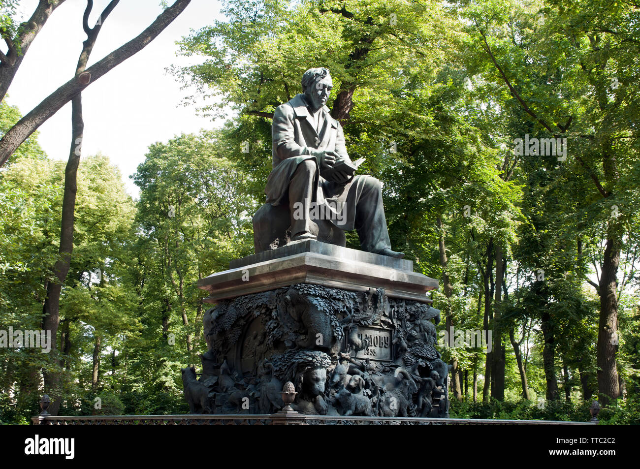Saint Petersburg Russia, Monument to Ivan Krylov erected 1855 in the Summer Garden - Stock Image