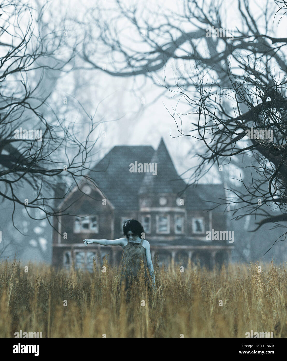 Ghost girl with haunted house scene in creepy forest,3d illustration - Stock Image