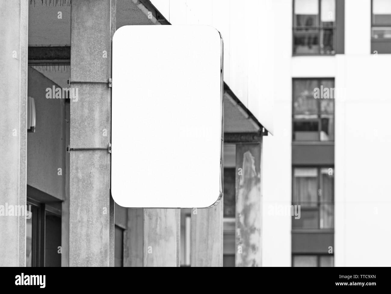 Hanging Wall Signboard Jpeg Mockup Modern Style Outdoor Signage