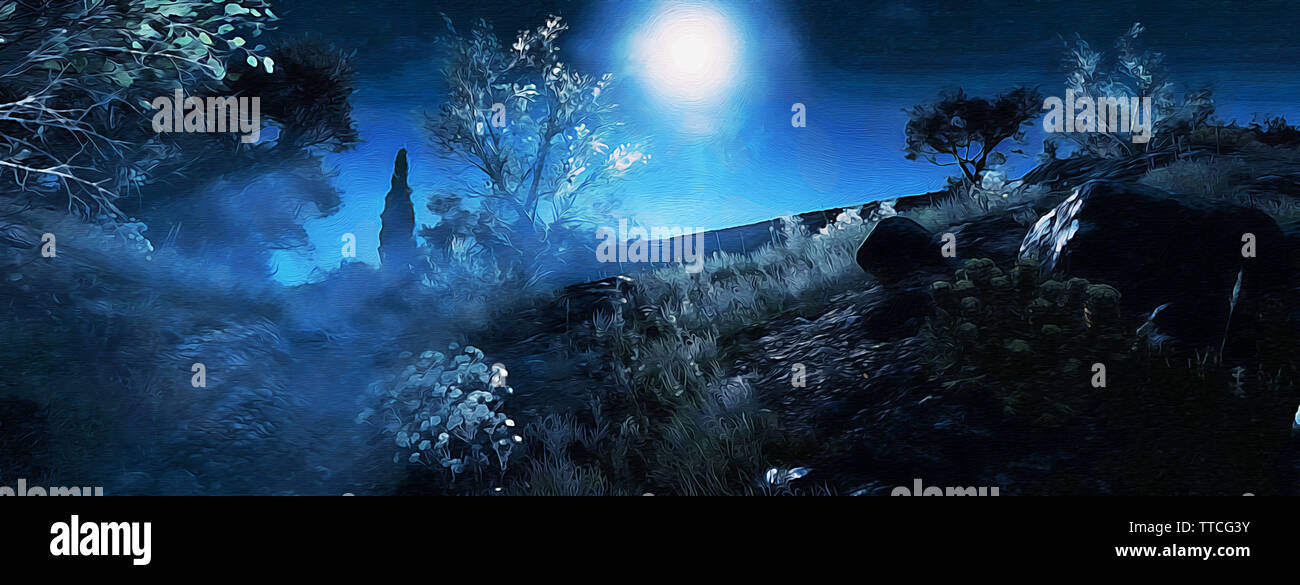 Mystical Night - Stock Image