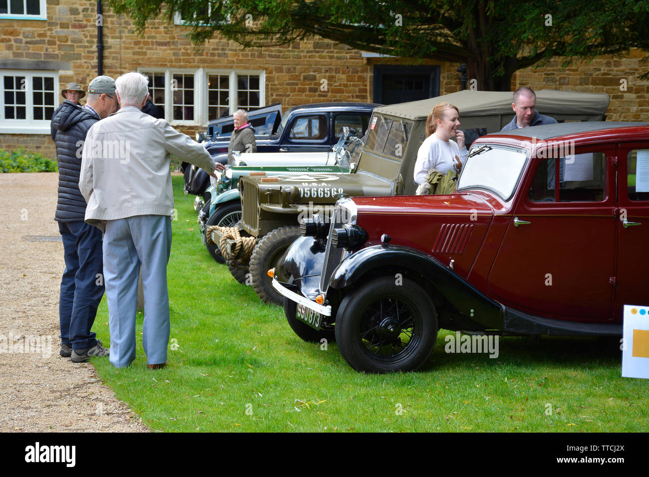 Line up of various classic cars at a car show, Delapre Abbey, Northampton, UK - Stock Image
