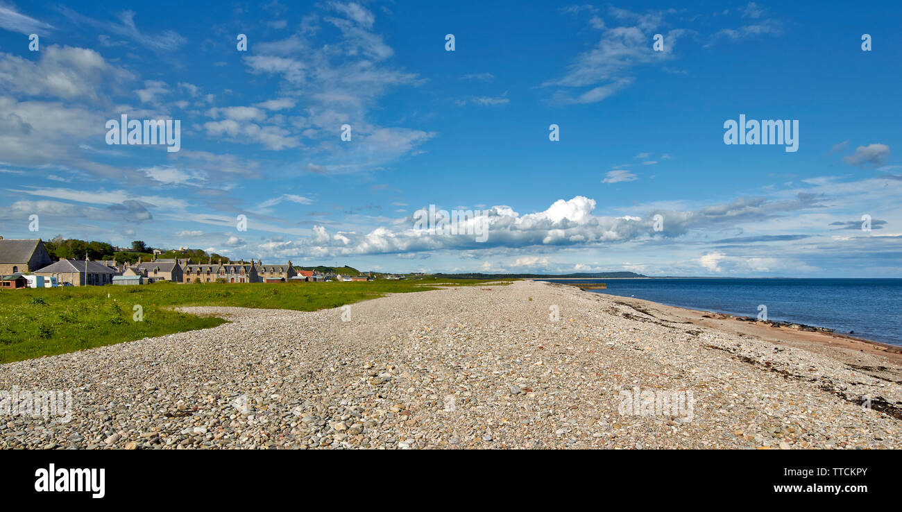 PORTGORDON MORAY SCOTLAND VILLAGE HOUSES OVERLOOKING THE EXTENSIVE BEACH WITH SEALS LYING ON THE SAND BELOW THE SHINGLE STONES - Stock Image