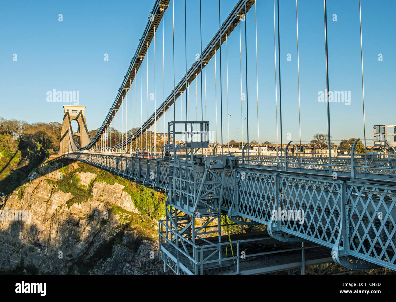Clifton Suspension Bridge over the Clifton Gorge in Bristol in the West of England Stock Photo