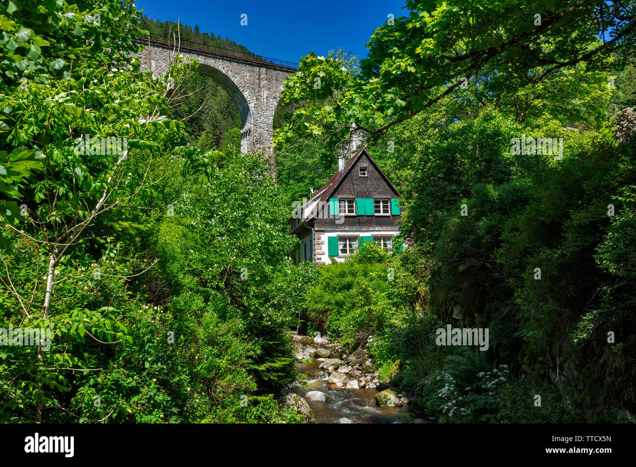 lonely house in the Hoellental near Freiburg, Black Forest, Germany Stock Photo