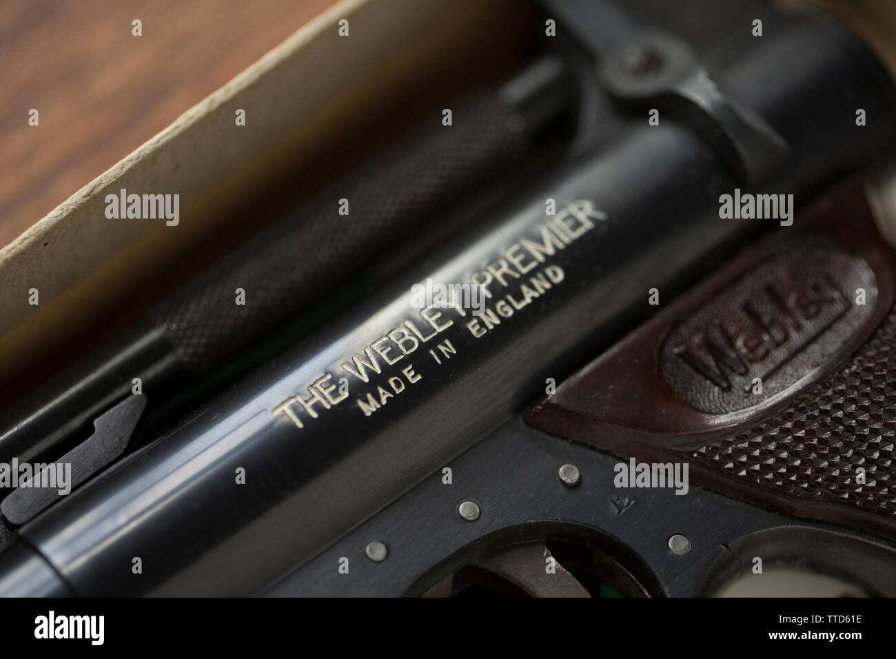 Detail of a Webley & Scott .22 'Premier' spring powered air pistol. These type of air pistols made in Birmingham England were very well made and have - Stock Image