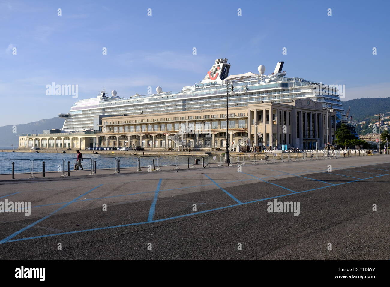 Trieste, Italy, June 16, 2019. Large cruise ship in the city port, redirected due to closure of Venice wharf. - Stock Image