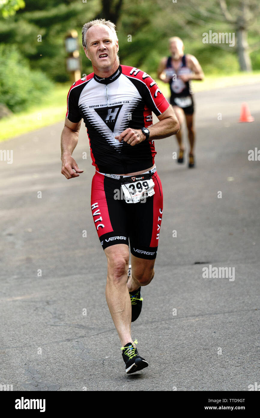 Mark Wilson competing in the HVTC Triathlon Summer Series 2019 #1 - Stock Image