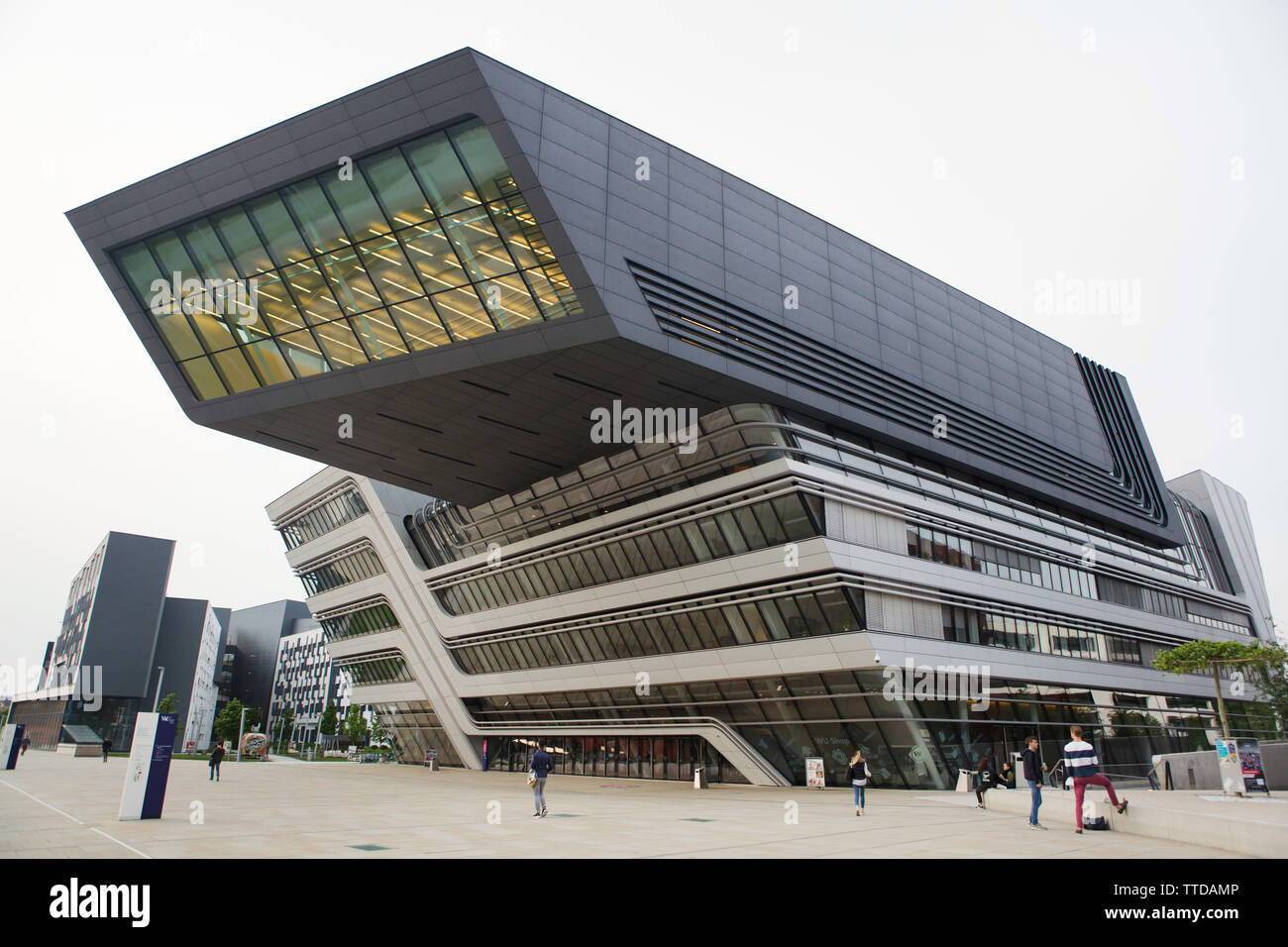 Library and Learning Centre of the Vienna University of Economics and Business (Wirtschaftsuniversität Wien) designed by the Zaha Hadid Architects (2013) in Vienna, Austria. Stock Photo