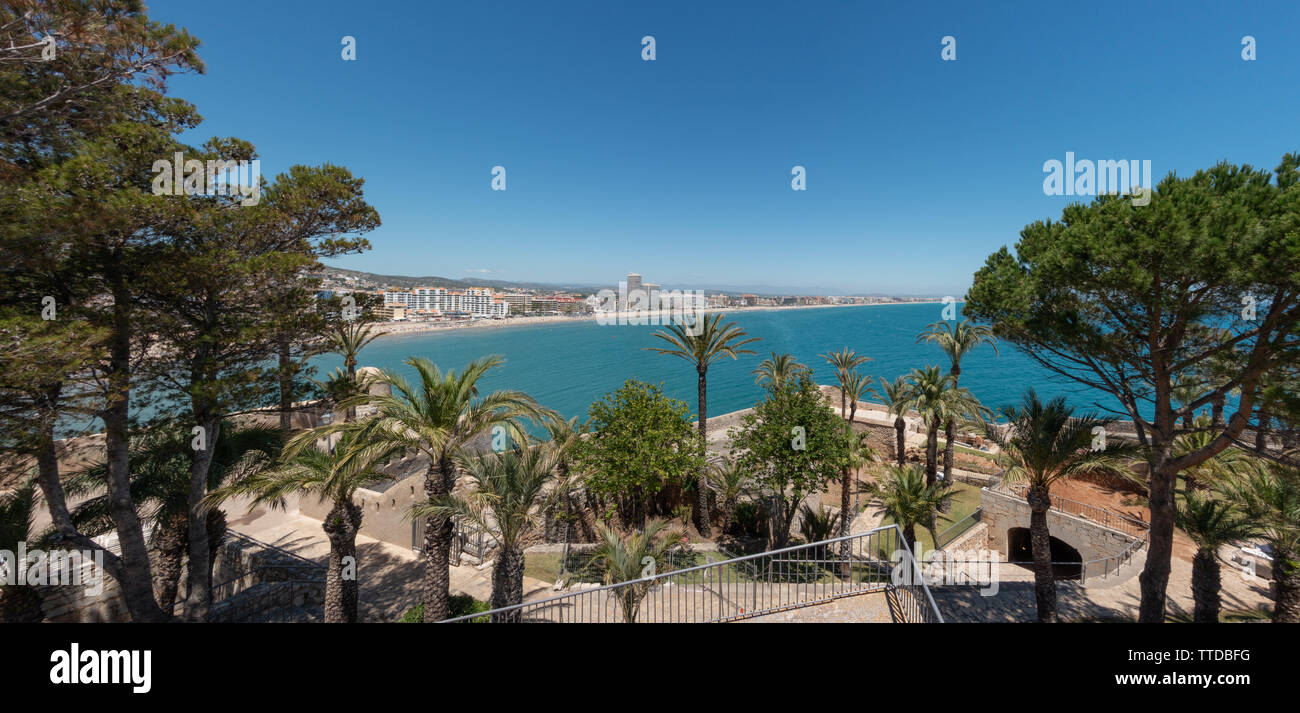 Panoramic view from Peniscola Castle overlooking the bay from the castle gardens - Stock Image