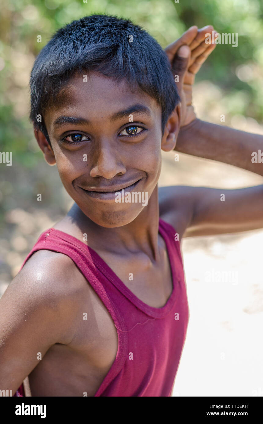 Portrait of a Young Sinhalese Boy, Ella, Sri Lanka Stock Photo