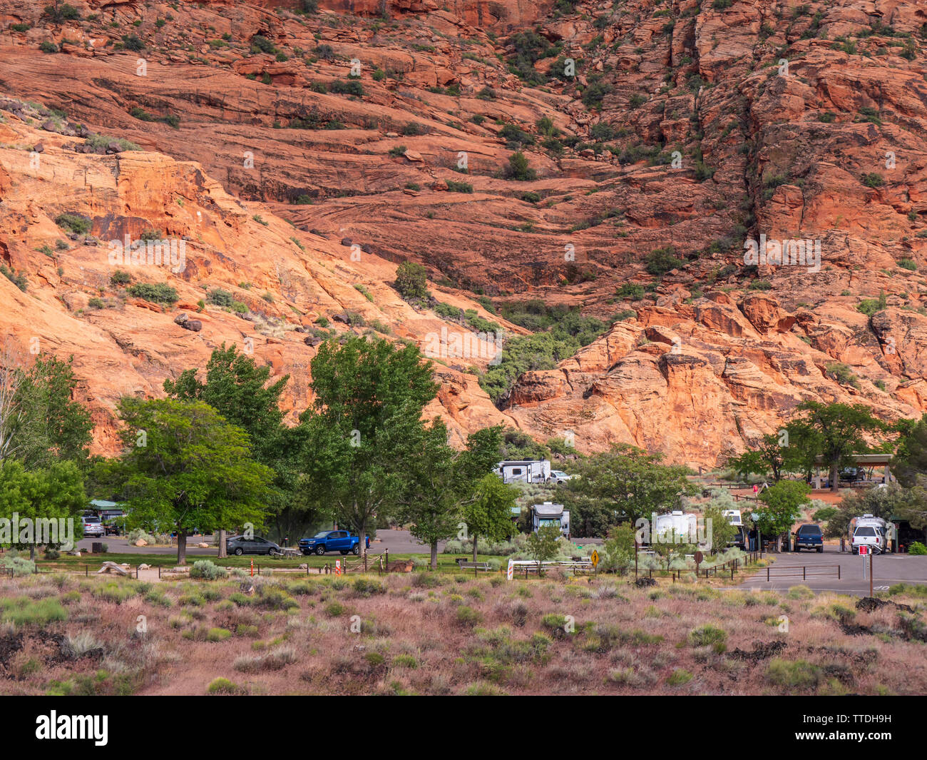 Campground, Snow Canyon State Park, Saint George, Utah. - Stock Image