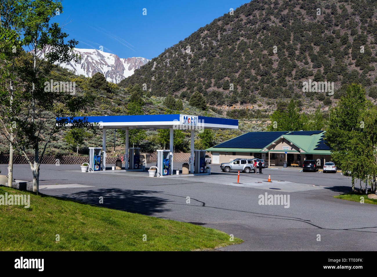The Tioga gas mart and the famous Whoa nellie deli at  the mobil gas station on the corner of highways 395 & 120 in Lee Vining California USA Stock Photo