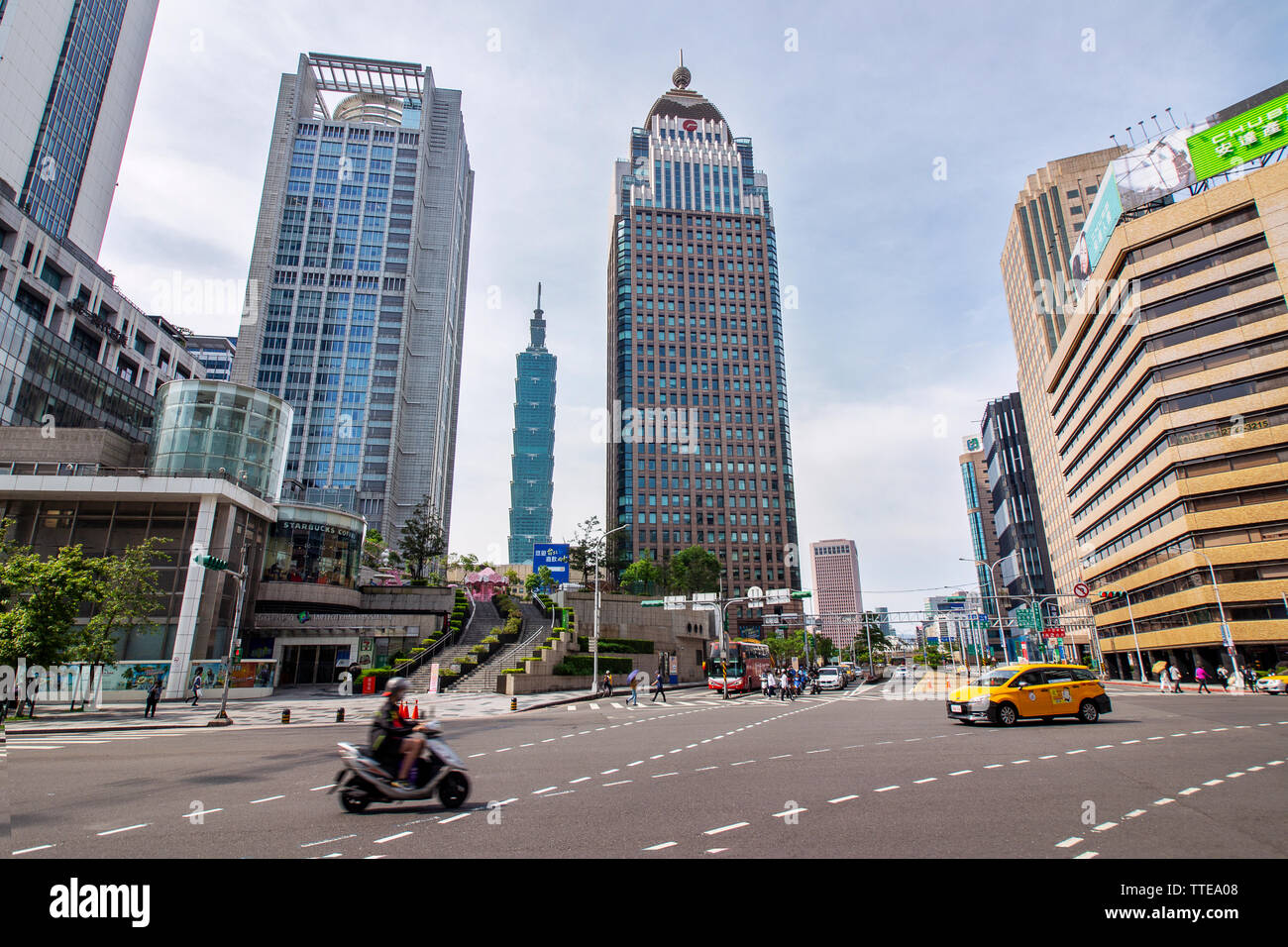 TAIPEI, TAIWAN. 5-5-2019 - skyline and cityscape of downtown Xinyi district Business area of with modern high rise building and the Taipei 101 buildin - Stock Image