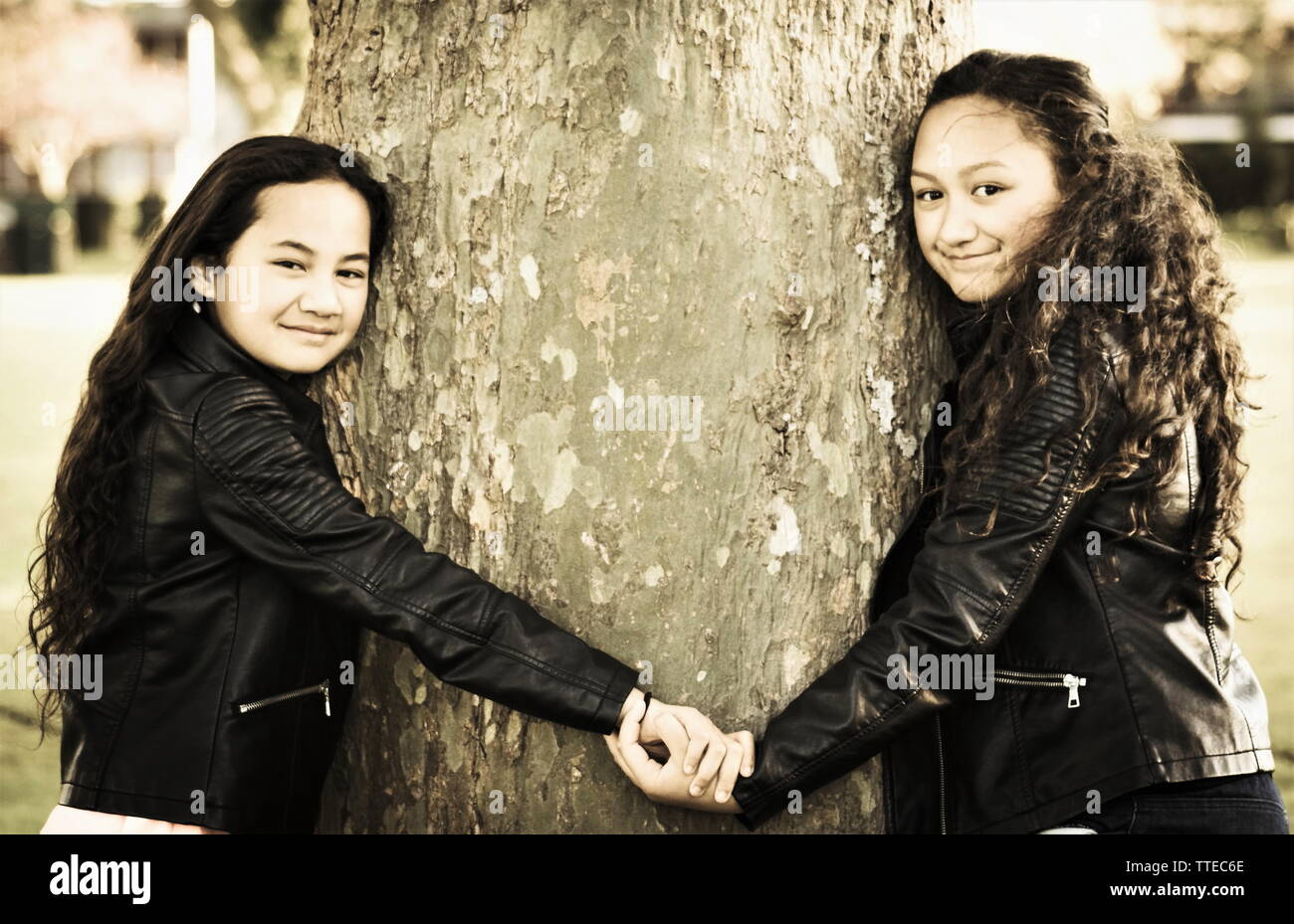 Two Maori sisters holding hands hugging a tree outdoors in the day - Stock Image