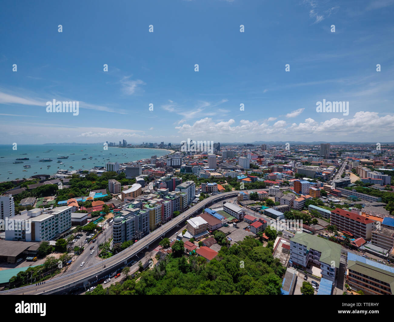 Pattaya, the popular resort city in Thailand, famous for its beaches and its many bars and redlight districts. Stock Photo