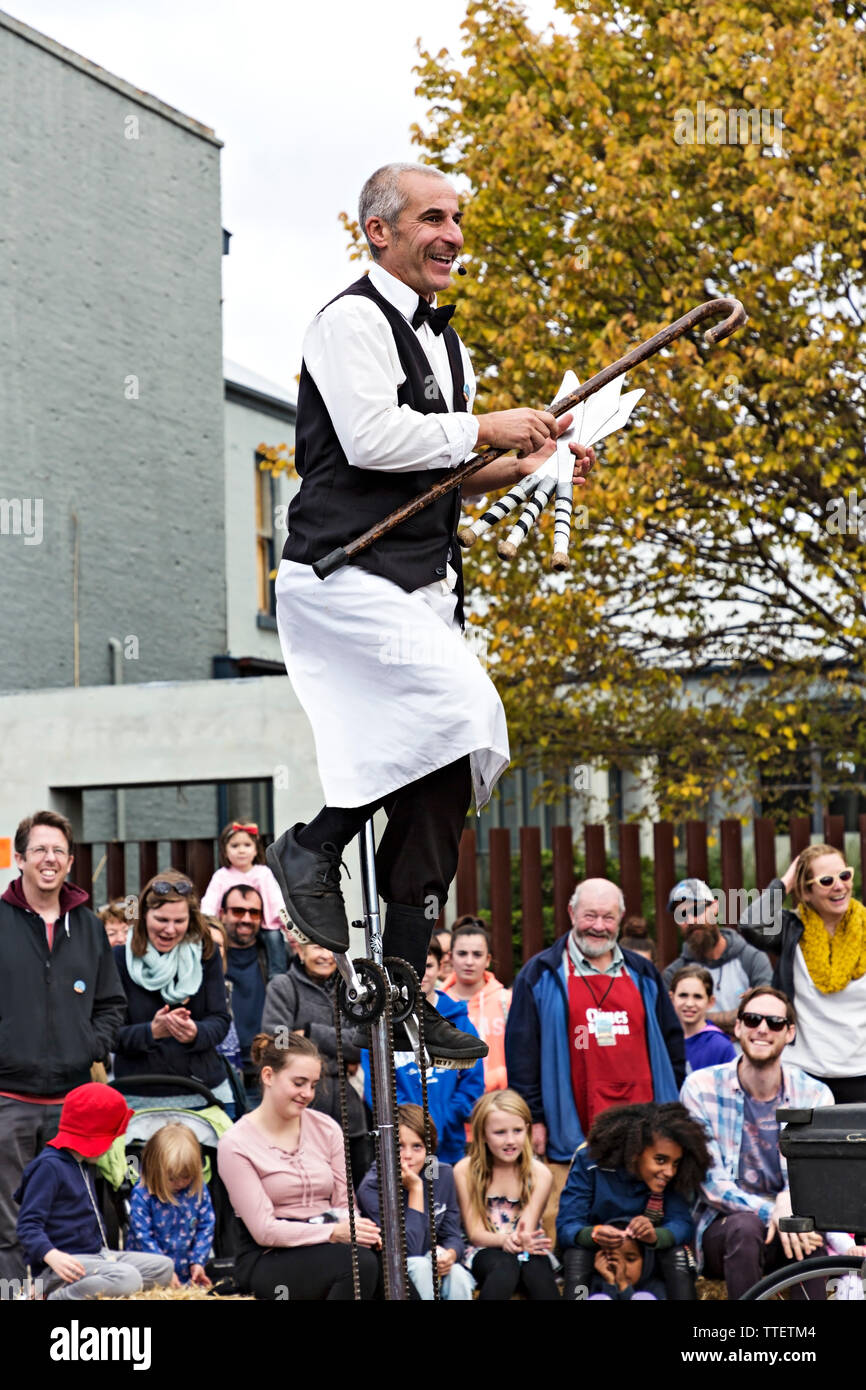 Jacques the French Waiter performing during the Clunes Booktown festival in the 1850`s gold mining town of Clunes in Victoria Australia. - Stock Image