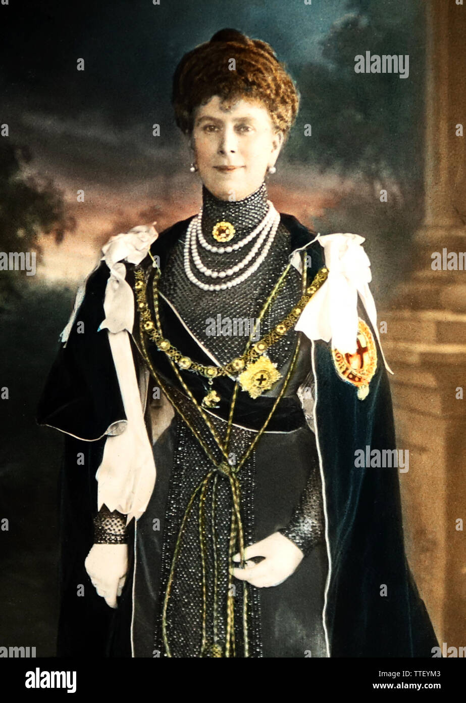 Queen Mary in Garter Robes - Stock Image