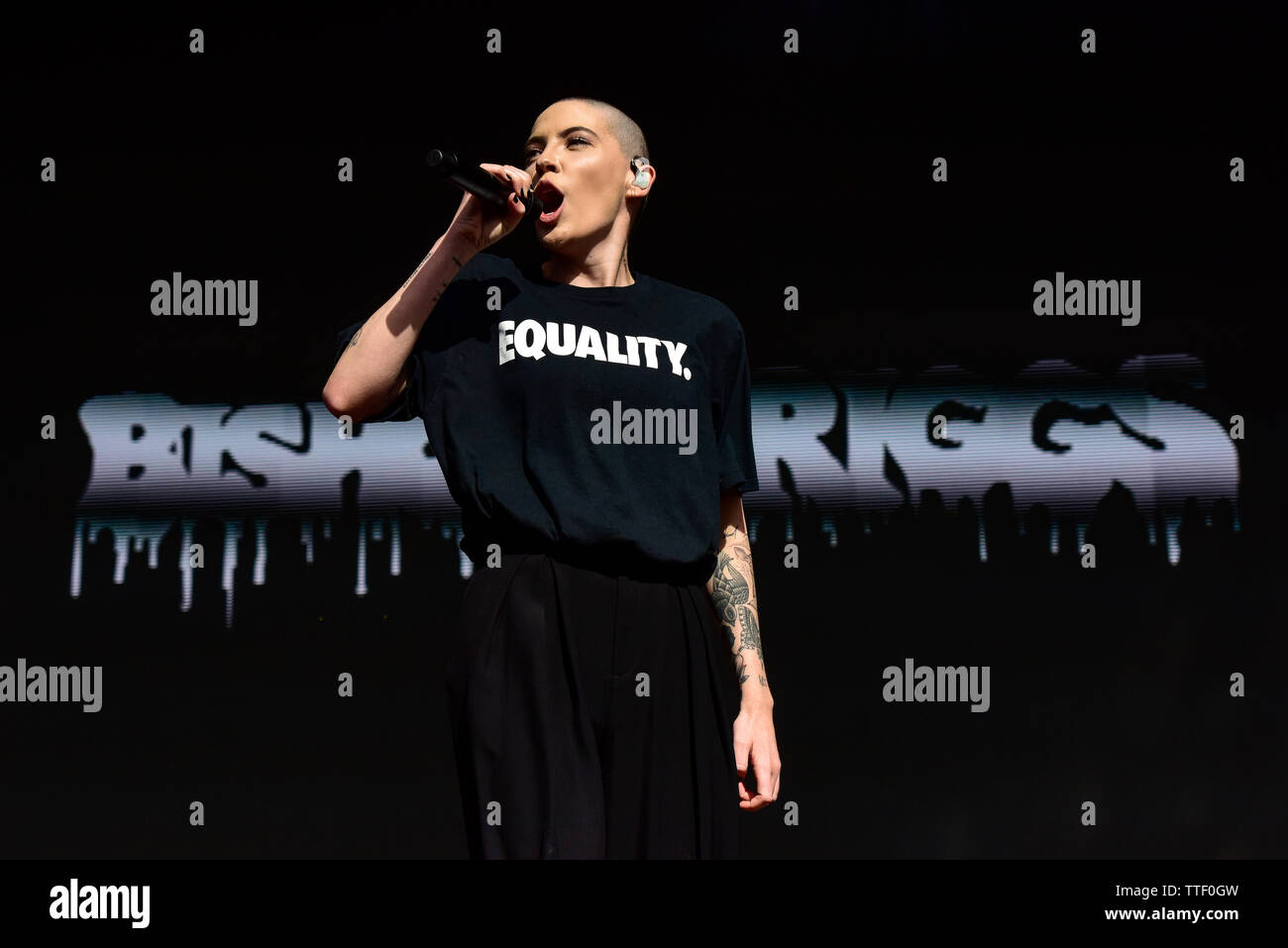 Bishop Briggs performing on stage at the BottleRock Festival 2019, Napa Valley, California. Stock Photo