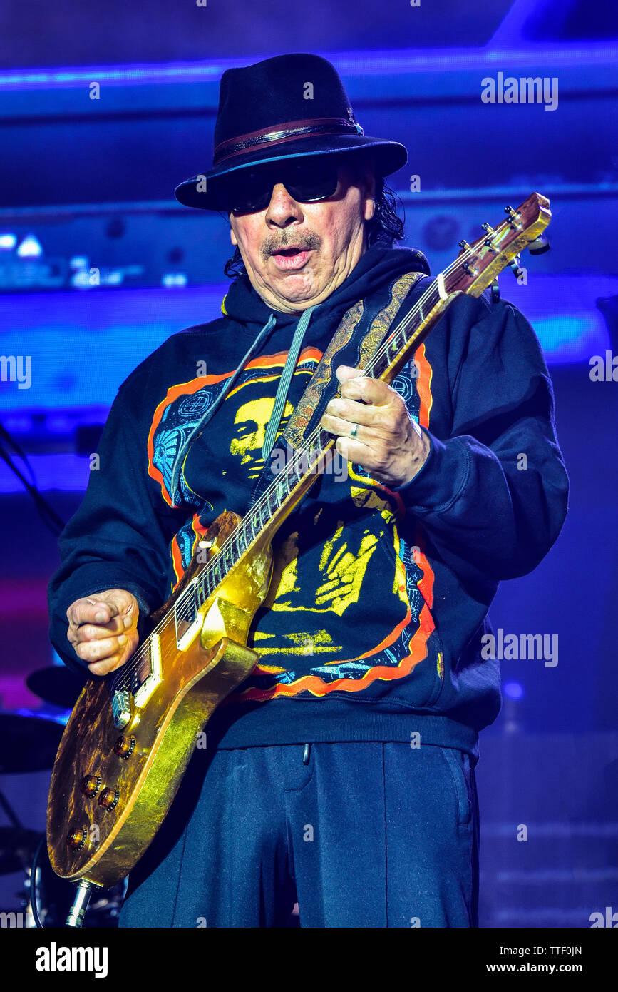 Carlos Santana performing on stage at the BottleRock Festival 2019, Napa Valley, Califonia, Stock Photo
