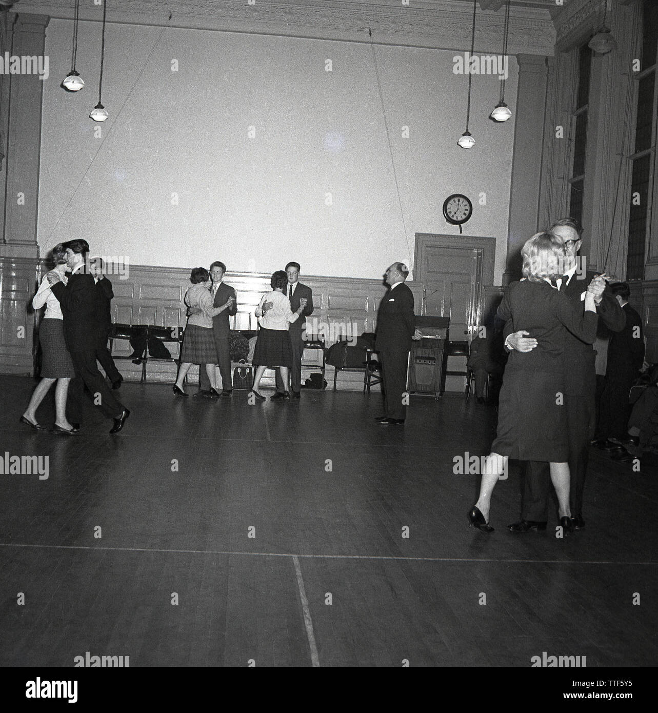 1950s, historical, men and women dancing together at an evening