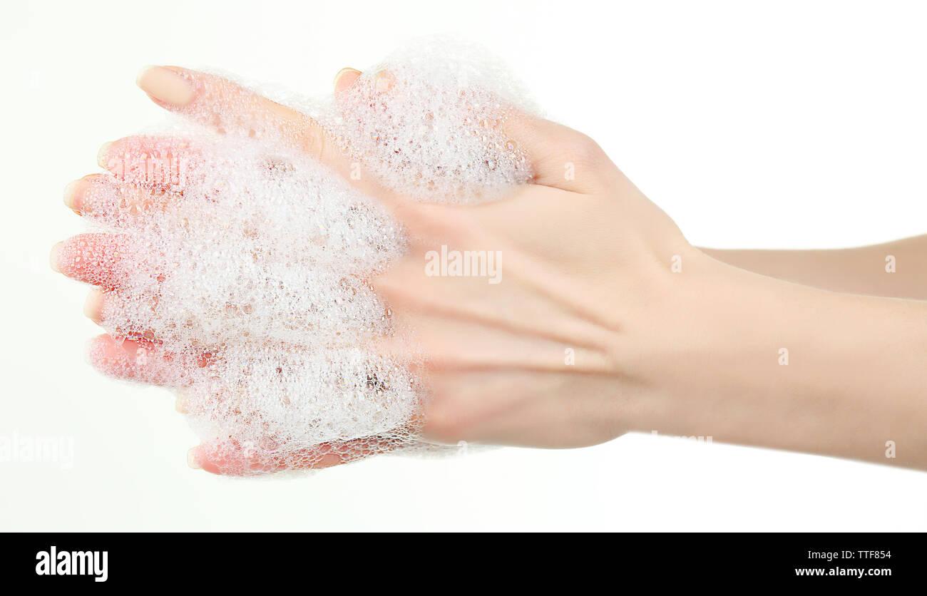 Washing hands, isolated on white - Stock Image