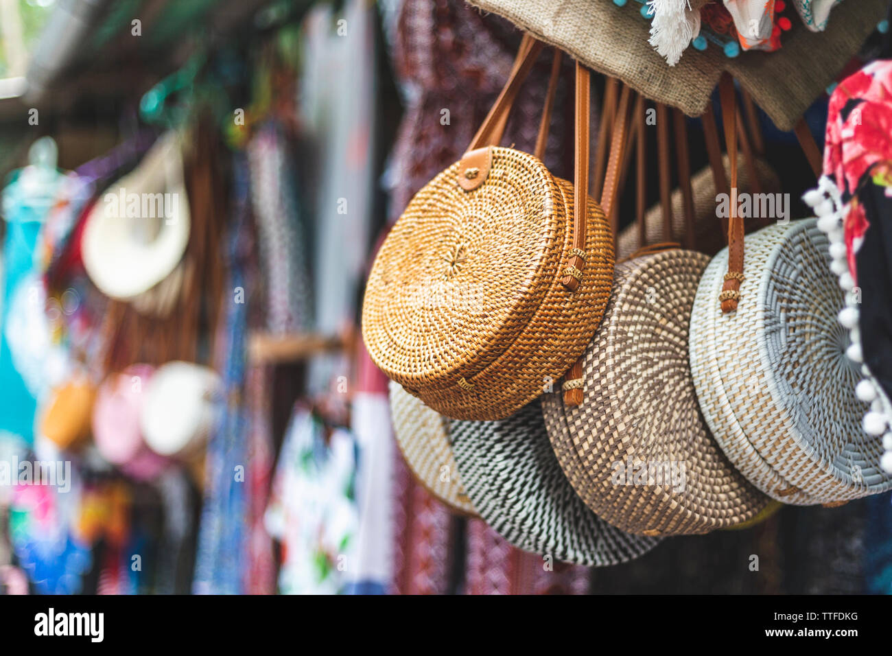 Woven Purses for Sale at a Local Market in Bali, Indonesia - Stock Image