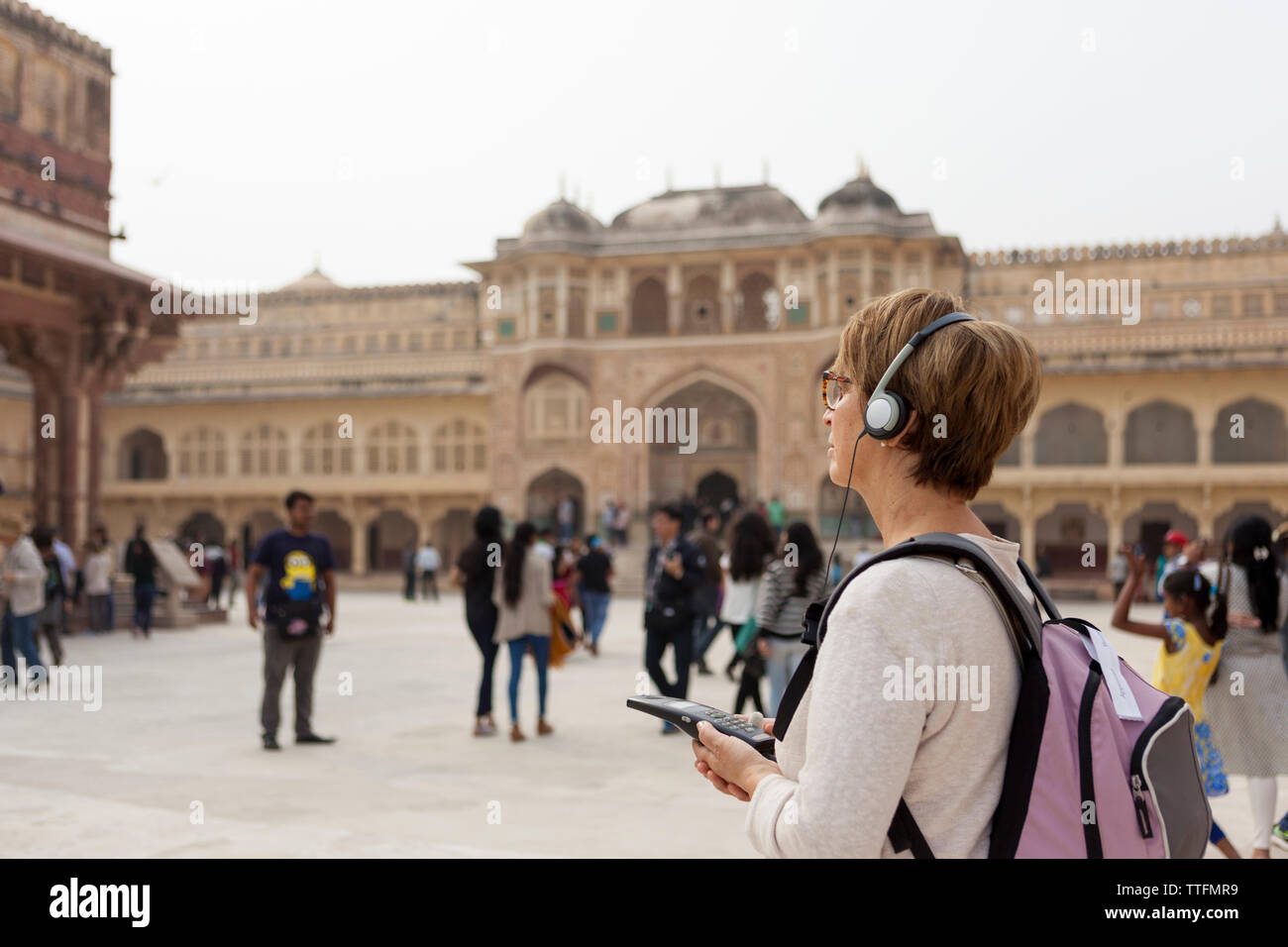 50 60 years old caucasian tourist woman at Amber Fort, Jaipur India - Stock Image