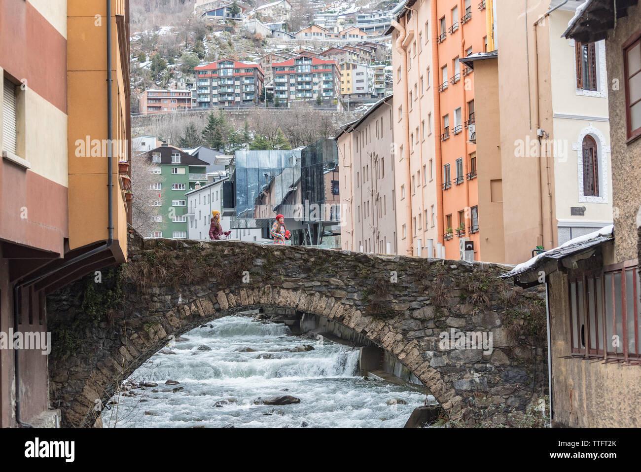 ESCALDES-ENGORDANY, ANDORRA - February 1: River Valira on Engordany Br Stock Photo