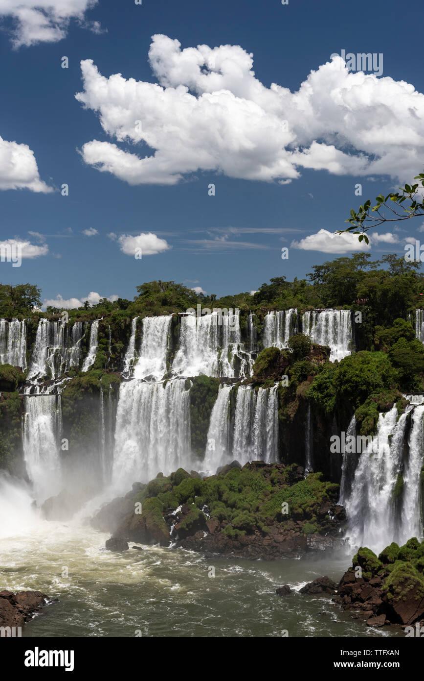 Beautiful landscape of big waterfall set on green atlantic rainforest Stock Photo