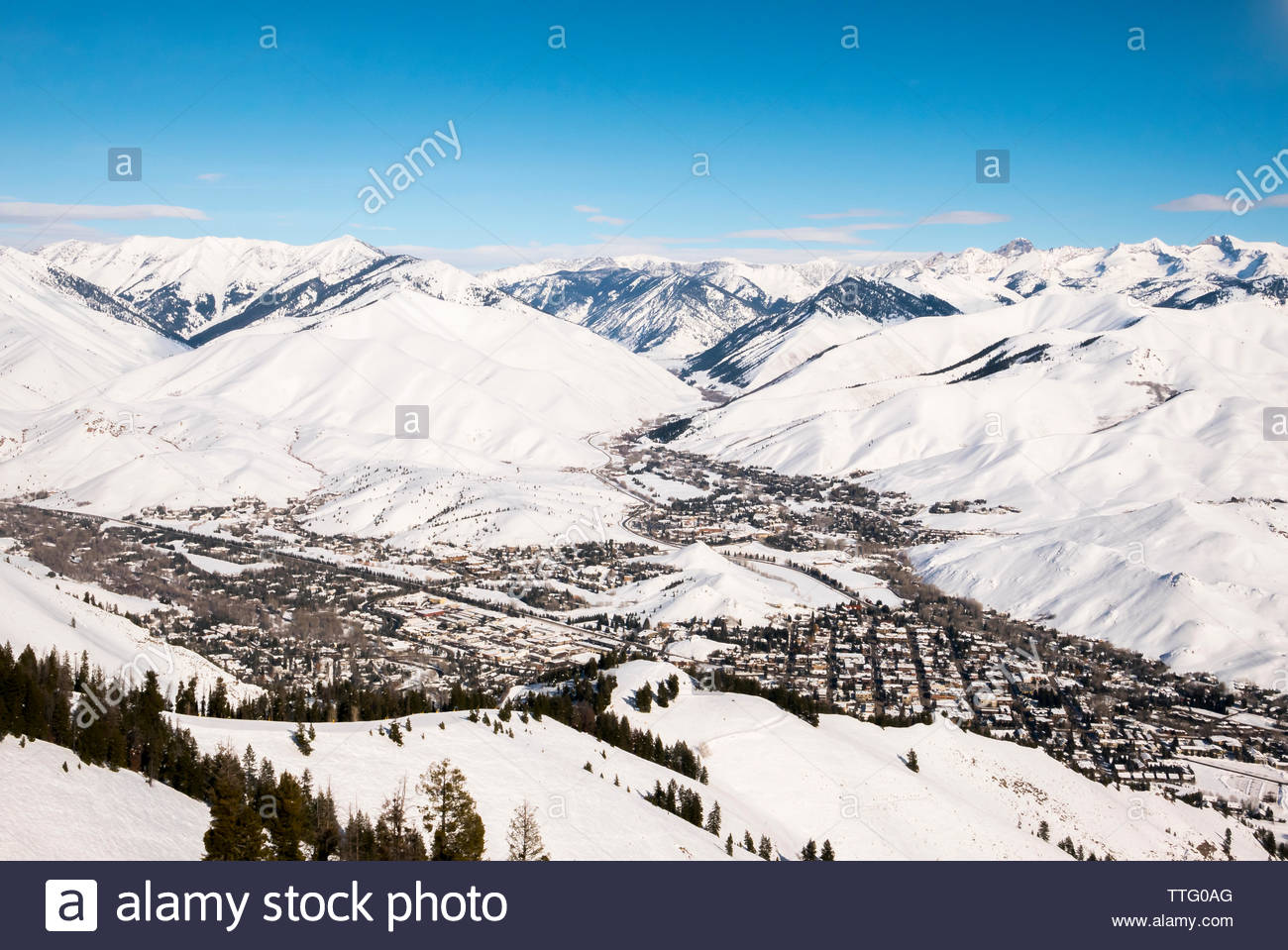 The town of Sun Valley on a sunny blue bird day in Sun Valley, Idaho. - Stock Image