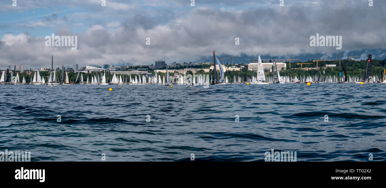 The Bol d'Or Mirabaud is the most important inland lake regatta in the world. Started in 1939, it welcomes mono-hulls and multihulls each year on Lake Stock Photo