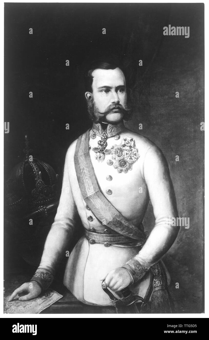 Franz Joseph I, Emperor of Austria, picture in crusade uniform of an Imperial and Royal field marshal in German adjustment. photo reproduction based on a painting, Additional-Rights-Clearance-Info-Not-Available - Stock Image