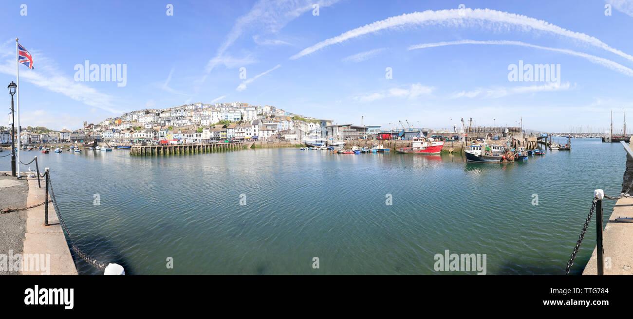 Brixham Town Devon, Brixham Panorama, Brixham harbour, Brixham, Devon, UK, England, United Kingdom, Brixham panoramic, Brixham, town, towns, harbour, - Stock Image
