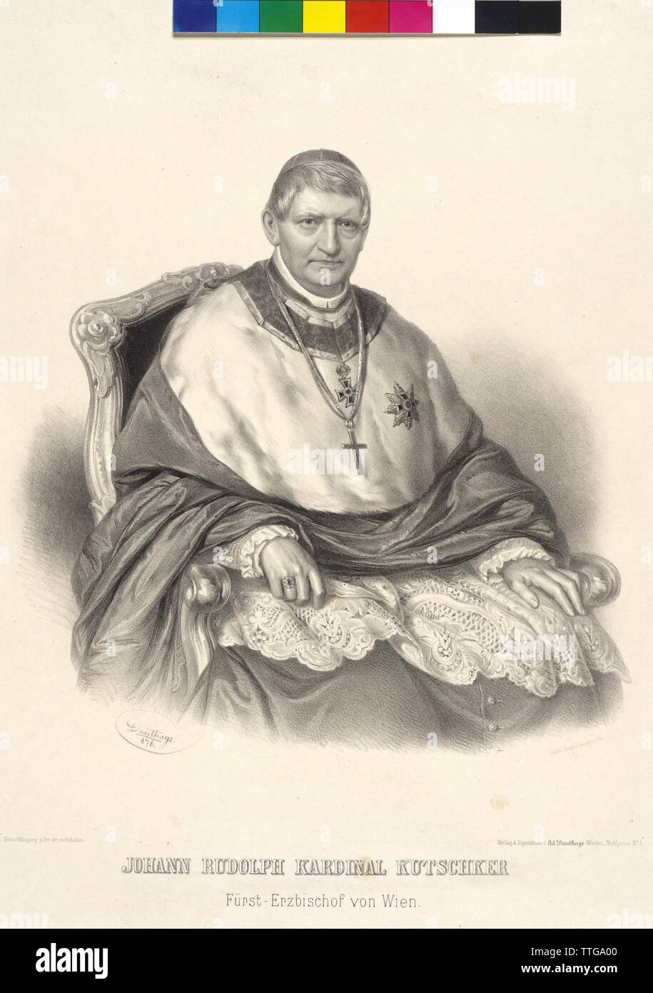 Johann Rudolf cardinal Kutschker Prince Archbishop of Vienna, lithograph by Adolf Dauthage, Additional-Rights-Clearance-Info-Not-Available - Stock Image