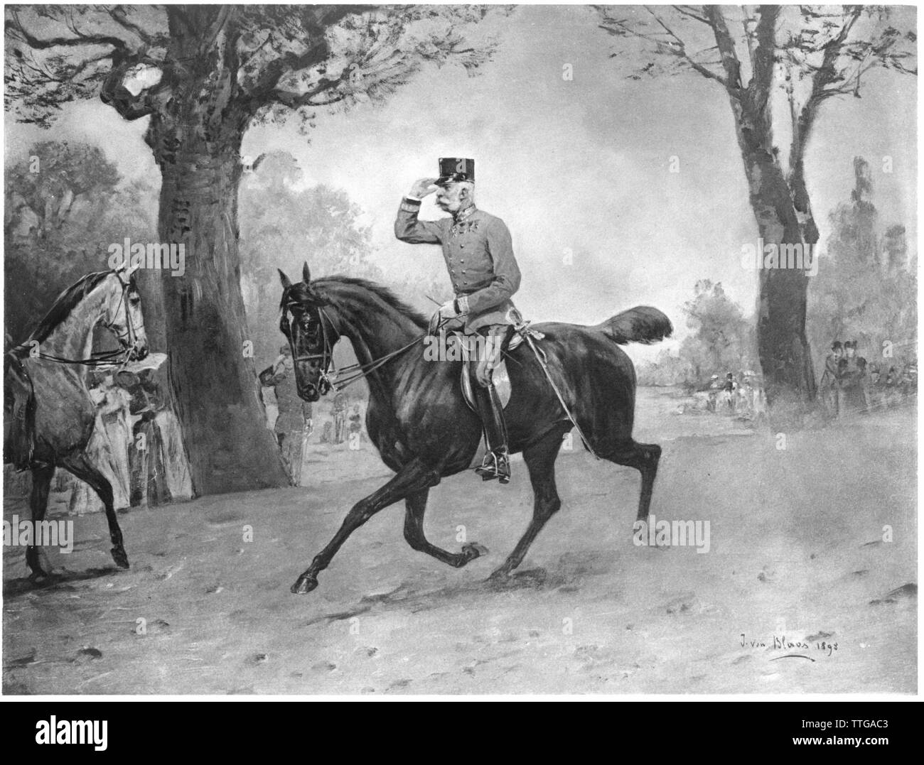 Franz Joseph I, Emperor of Austria, The Emperor on a pleasure ride in the Viennese Prater. heliography based on painting by Julius von Blaas (1845-1922), dated 1898, Additional-Rights-Clearance-Info-Not-Available - Stock Image