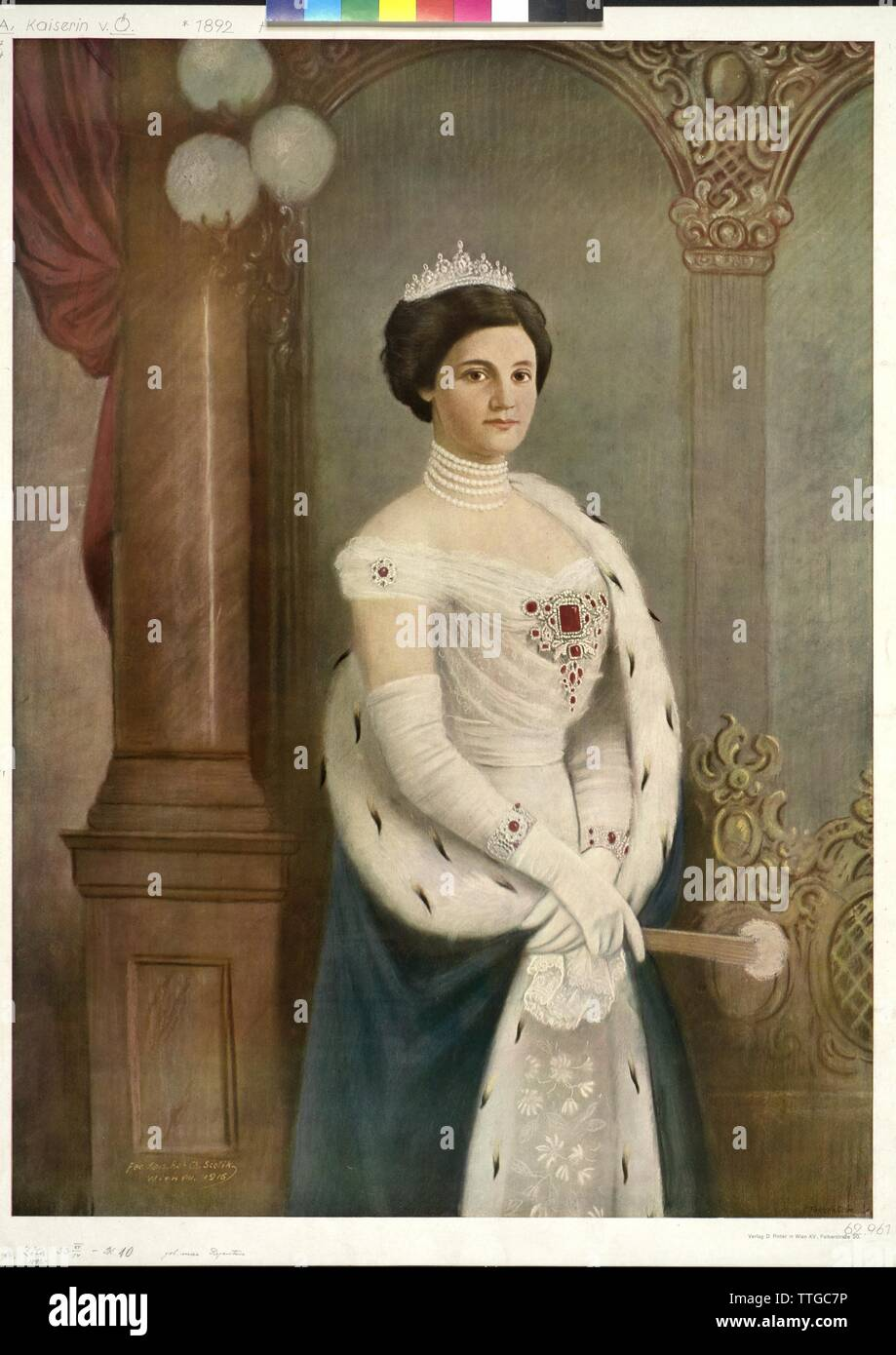 Zita, Empress of Austria, colour printing based on an edited photograph by Charles Scolik, Additional-Rights-Clearance-Info-Not-Available - Stock Image