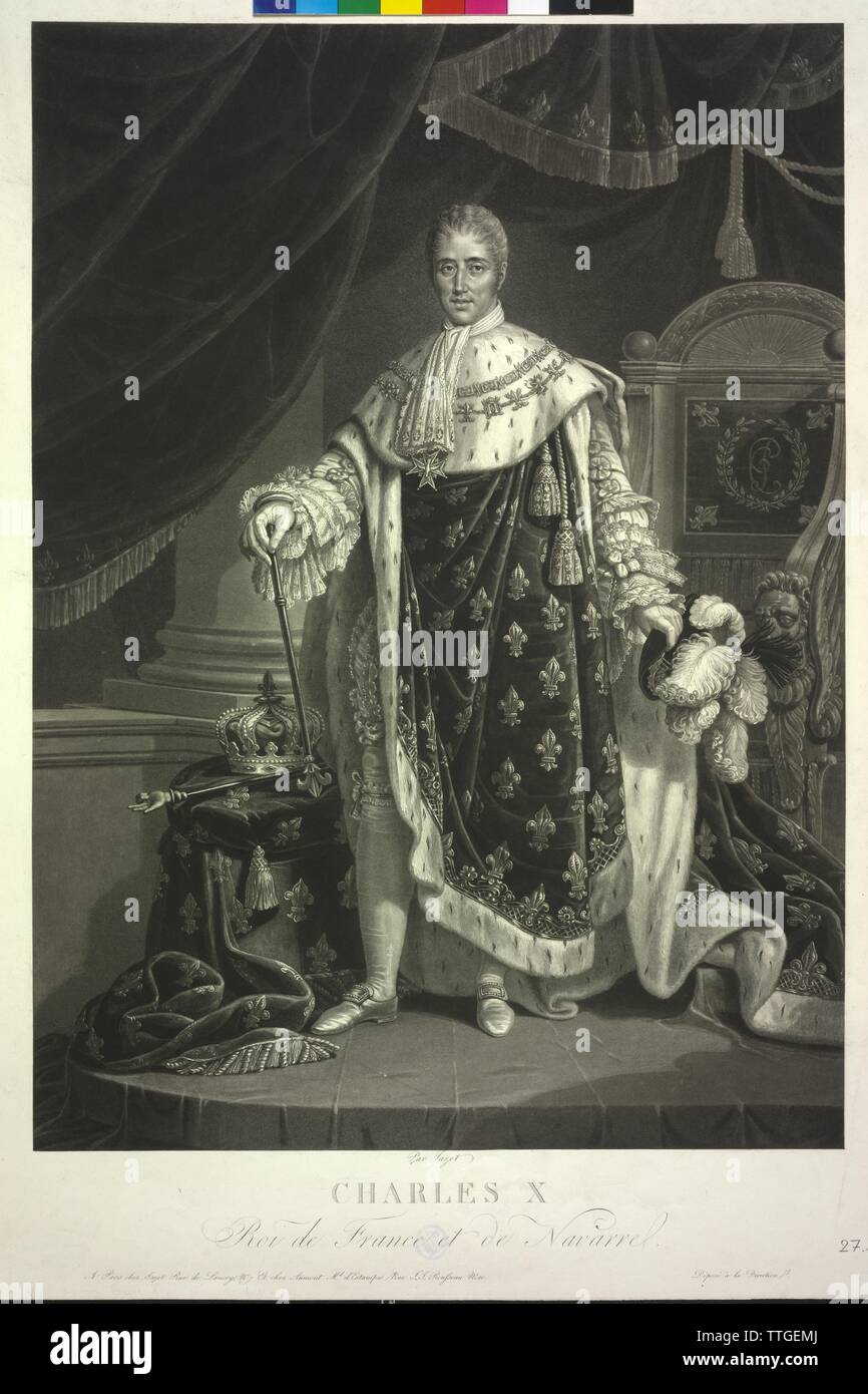Charles X., King of France, aquatint by Jean Pierre Marie Jazet, Additional-Rights-Clearance-Info-Not-Available Stock Photo