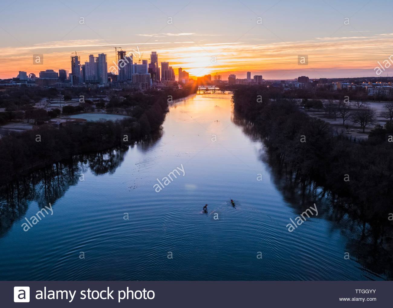 Sunrise on Ladybird Lake, Austin, TX 2018-01-24 - Stock Image