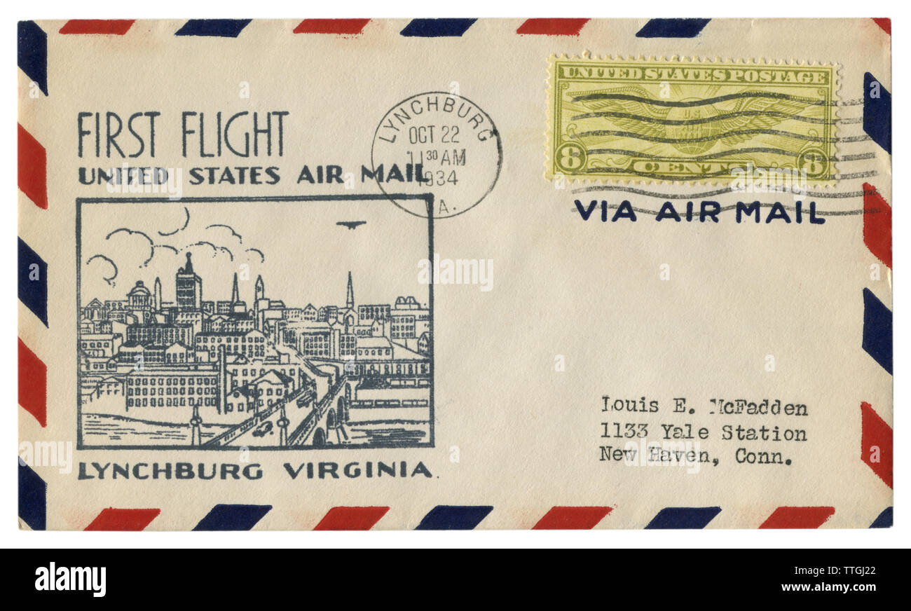 Lynchburg, Virginia, The USA  - 22 October 1934: US historical envelope: cover with cachet first flight, Air mail, city view, eight cents stamp - Stock Image