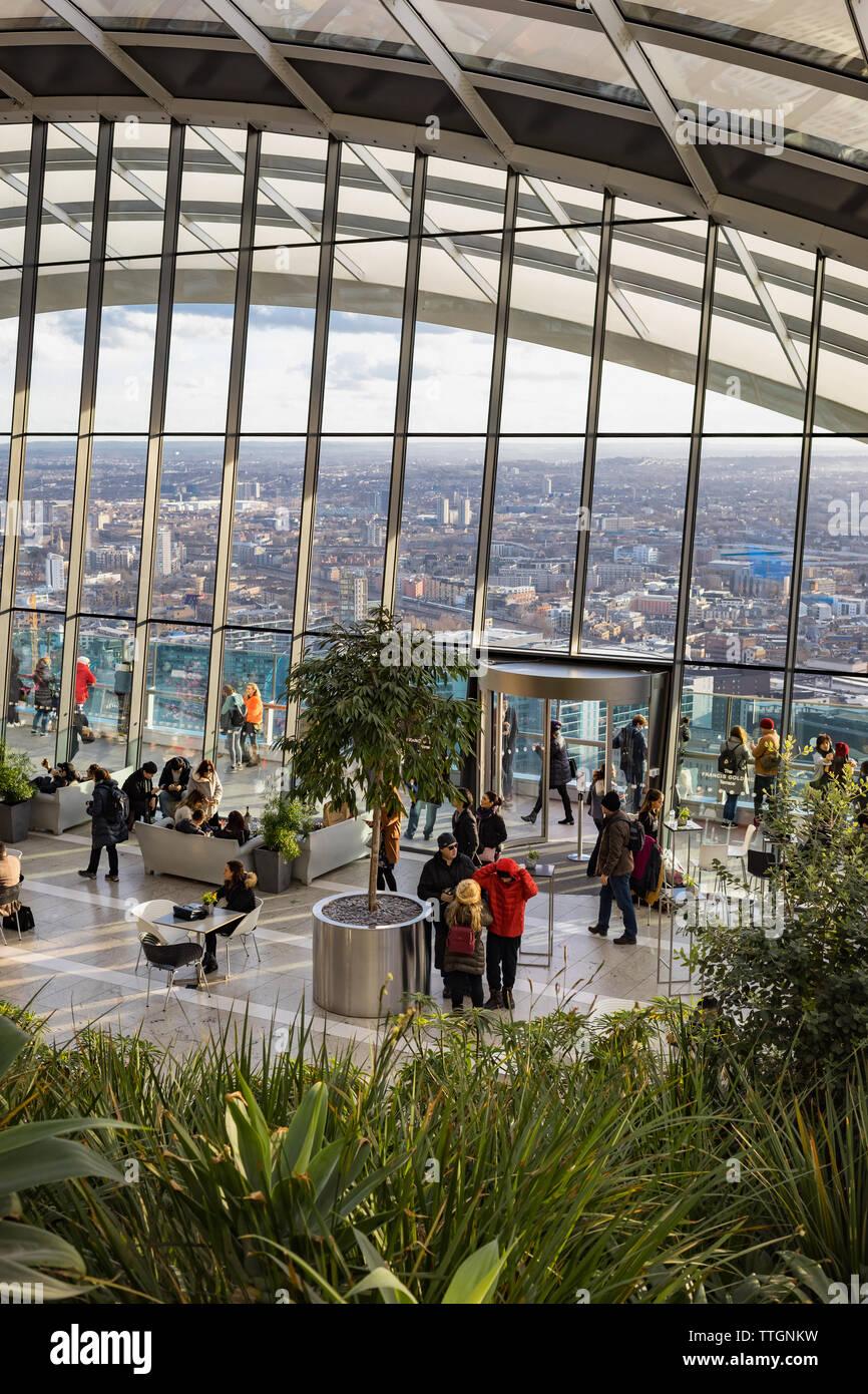 View inside Sky Garden, London, UK. 19 January. 2018 - Stock Image